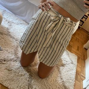 Blue and off-white stripe wrap skirt